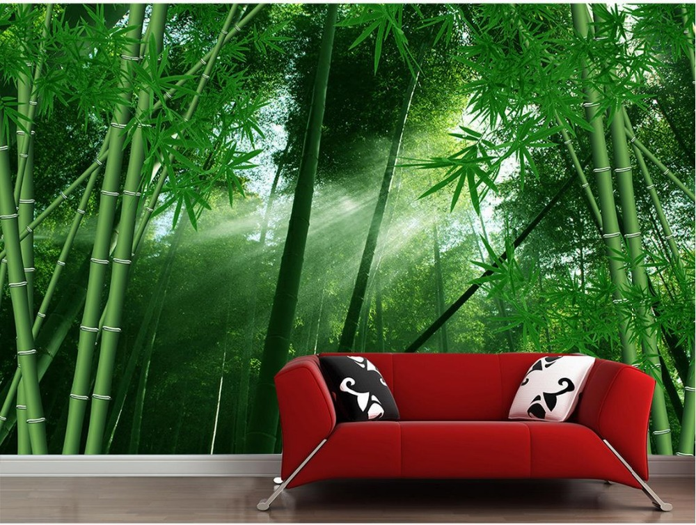 Home Decoration Landscape wallpaper murals Green bamboo forest Wallpapers for living room parded papel<br><br>Aliexpress