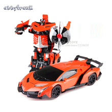 Abbyfrank Remote Control Cars Transformation RC Robots Transform Toy Light Sound Dance Electric Car Models Boy Birthday Gift Toy