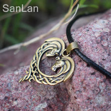 Original Celtic Necklace For Horse Lovers Heart-Shaped Horse Celtic Art Horse Necklace Heart  Equestrian SanLan Jewelry
