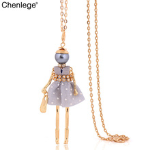 chenlege long chains doll necklace big choker crystal 2017 lovely dress charm pendant jewelry women necklace fashion wholesale(China)