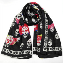Silk Scarf Wrap Printing Skull Scarves Foulard Shawl Hijab Luxury Brand Bufandas Cape Head Scarves Oversize Beach Towel Hallowee(China)