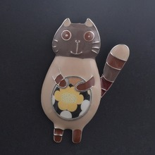 Women Pins Cat Jewelry Enamel Style Brooch Costume Decoration Wholesale