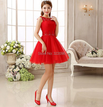 Shanghi Story fashion Red Lace Bride short fashion sexy dress Party Dresses vestidos de novia for party Club