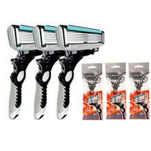 3 Pcs/lot Pace 6 Blades DORCO Shaver Razor Blade Men Razor for Men Shaving Personal Stainless Steel Safety Hair Removal