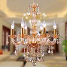 Modern Fashion led Crystal Chandeliers Dinning Room Lamp 3/6/8/10/12/15/18 arm european candle amber color crystal chandeliers