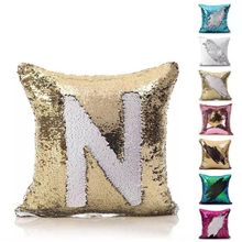 Reversible Pillow Case Mermaid Sequin Pillow Cover DIY Decorative Cushion Covers Color Changing Sofa Throw Pillowcase 40*40cm(China)