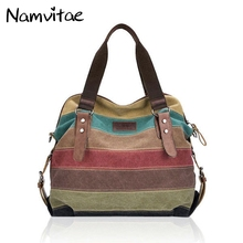 Vintage Women Canvas Handbags Casual Stripe Totes Bag Micro-Fibric Leather Shoulder Bags Contrast Color Women Crossbody Bags(China)