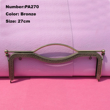 PA270 Purse Frame Hanger Embossing Portable 27cm Bronze Metal Clasps Purses Accessories Handles Handbags Diy Bag Parts