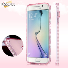 KISSCASE S7 Edge Bling Diamond Clear Case For Samsung Galaxy S7 Edge Soft Silicone Rubber Girly Luxury TPU Cover For Samsung S7