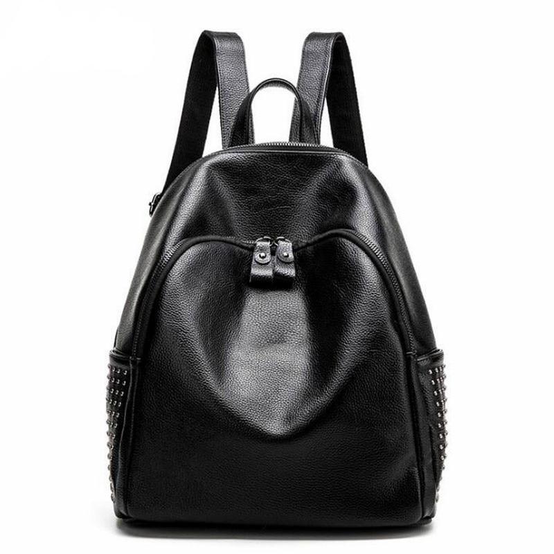Leather Backpack High Quality Shoulder Bag Fashion Backpacks For Teenager Girls Travel Bag Black<br>