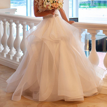 2017 Faldas Saia Puffy Organza Skirts For Bridal Elegant Ruffles Ruched Formal Lush Long Skirts Boutique Formal Wedding Gown(China)