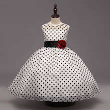 Fashion 3-8y toddle kids clothes summer girls dress pink lavender red yellow white black polka dot little girl party dress prom