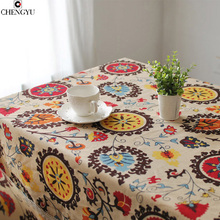 Modern Rural Embroidered Tea Table Cloth Home Decoration Tablecloth linen Lace tablecloth Dust-proof printed rectangle endless