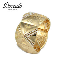 Dorado Egypt Ethnic Style White Beads Gold Color Chunky Wide Big Bracelets Bangles Jewelry