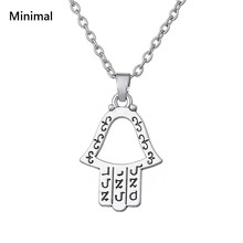 Minimal Sliver Color Hollow Hamsa Amulets Ethnic Pendant Supernatural Necklace with Hebrew Spells Wicca Jewelry