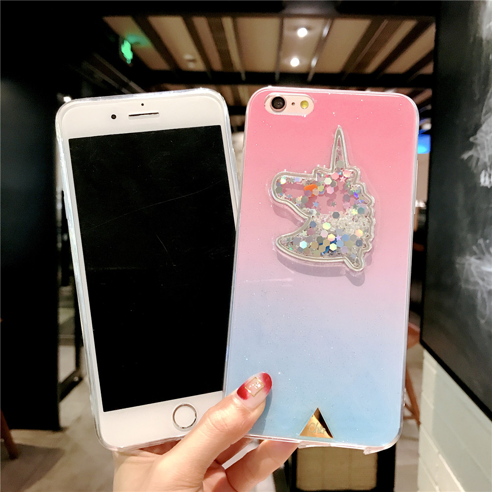 XINKSD For iphone 6 s 6s Gradient Luxury diamond unicorn phone case On iphone 7 8 x xr xs max Ultra-thin soft tpu liquid funda (5)