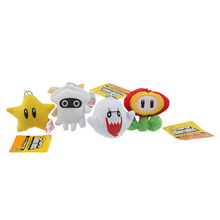 4PCS/Set Super Mario plush toys 4styles cartoon 7cm pendant Blooper Boo Ghost star flower for Christmas Gifts