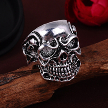 NBSAMENG 2017 Punk Vintage Trend Men's Ring Gothic Men Skull Flower Biker Zinc Alloy Ring Man Fashion Rings Free Shipping sa977