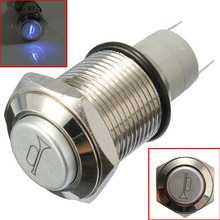 Wholesale 12V 5A 16mm Car Blue LED Momentary Push Button Horn Metal Switch For Car Boat Speakers Bells Horn