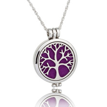 Fashion Jewelry Tree Of Live Round Pendant Aromatherapy Necklace For Women Glow In Drak Luminous Necklace Good Gift