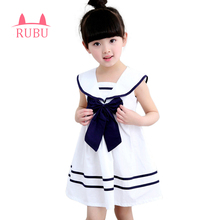 RUBU 2017 New Summer Navy Sailor Uniforms Casual Style Girls Dress White Blue Pink Colors Big Bow Baby Children Dresses(China)