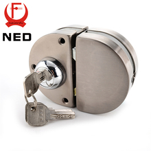NED Double Glass Door Lock 304 Stainless Steel Double Open Frameless Door Latches Hasps For 10-12mm Thickness Furniture Hardware