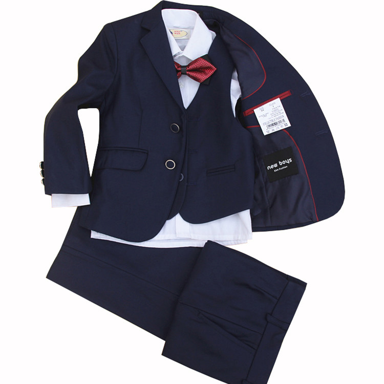 4 Pieces set  jacket+vest+pants +bow tie Children Formal Suit Jacket Wedding boys  Dress Suit  size 90-130 135 140 145 150