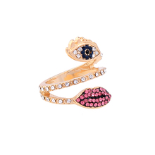 Chic Crystal Inlay Lip Eye Ring Accessories for Women Online Shopping India Fashion Ring Jewelry 2017