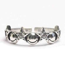 2017 vintage european brand meaning Happy smile smily star open sized 925 sterling silver ring