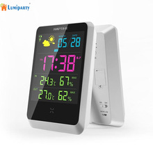 LumiParty Hot Sale Weather Station Indoor Outdoor Digital Alarm Clock With LED Screen Date Time Displaying digital desktop clock