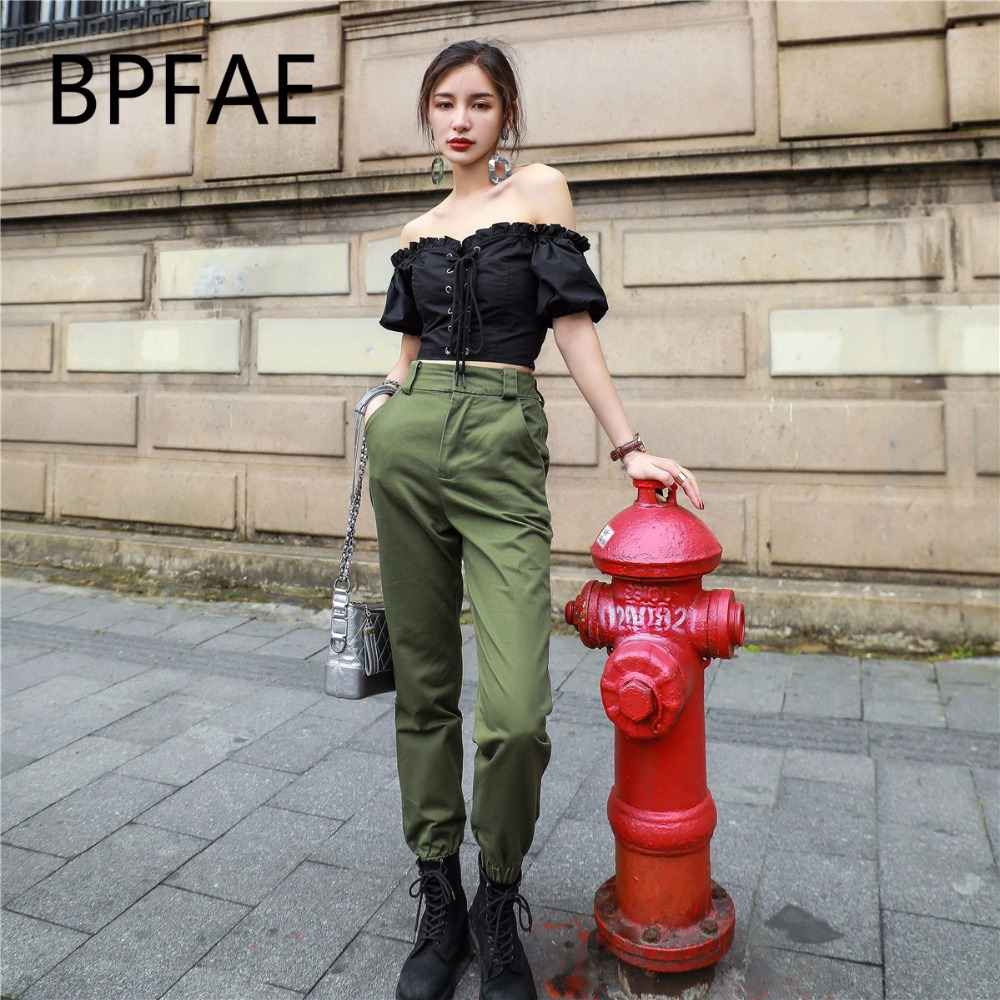 BPFAE 2018 New Arrival Fashion Cargo Pants Women Summer Army Green Sweatpants High Waist Joggers Pants Ankle-Length Pants Female