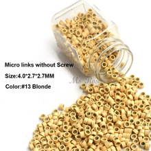 Aluminum Micro Links 4.0*2.7*2.7MM 1000Pcs/Bottle Blonde #13 Hair Extension Beads Micro Bead Hair Extensions Accessories(China)