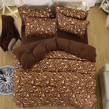 100% Polyester Leopard Color Cotton Bed Linen Luxury bedclothes double size bed cover Doona duvet cover sheet bedding set
