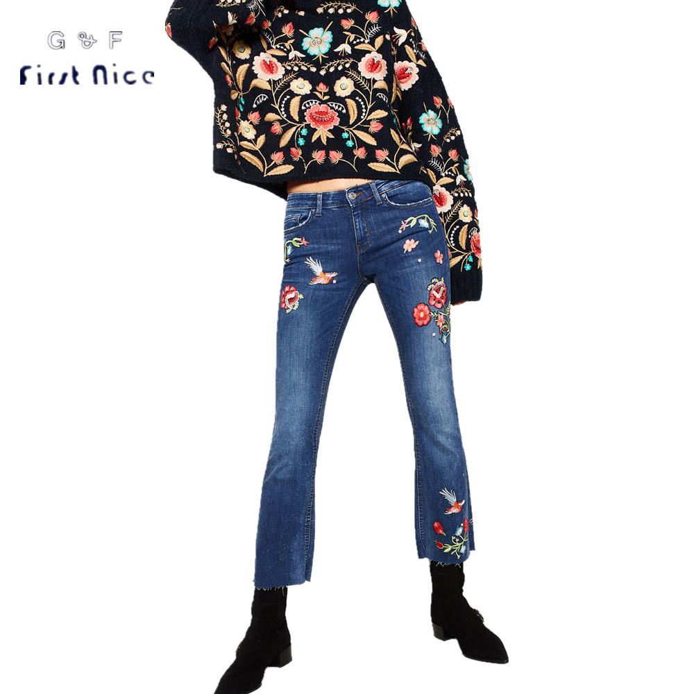 Women Jeans 2017 Spring New Fashion European Style Luxury Diamond Decorated Flower Embroidery Female Denim Long Bell-bottoms Одежда и ак�е��уары<br><br><br>Aliexpress