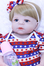 Full body soft silicone reborn baby girl dolls 22inch blond hair new born baby dolls toys gift bebe alive reborn bonecas