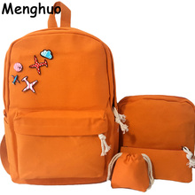 New 4Pcs/Set Korean Casual Women Backpacks Canvas Book Bags Cute Plane Badge Schoolbag for Teenage Girls Composite Bag mochila(China)