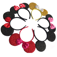 6 pcs Hair Accessories Mickey Minnie Mouse Ears Solid Black&Bow Headband Boys Girls Headwear for  Birthday Party or Celebrations