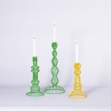 Creative Design Green/Yellow Metal Hollow Candle Stand Holder Iron Candlestick Holder Home Wedding Decorative Accessory(China)