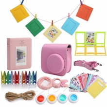 7 in 1 Instant Camera Accessories Camera Case Bag Film Bundles Set mini 8 close-up lens For Fujifilm Instax Mini8 Pink(China)