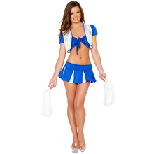 Blue Sexy Cheerleader Costumes Dance Cheerleader Uniform High School Cheerleading Costume Women Fancy Dress