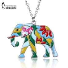 Elephant Necklace Alloy Enamel Printing Pattern Chain Animal Pendant Fashion Jewelry 2017 News Bohemian Art Design new year gift(China)