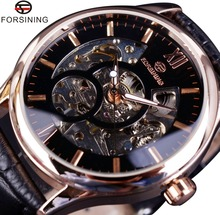 Forsining Rose Gold Case Fashion Designer Men Watch Top Brand Luxury Clock Men Mechanical Skeleton Watch Saat Erkek Montre Homme