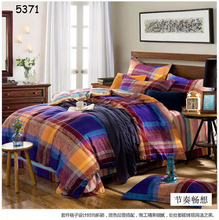 new design blue red orange plaids bedding set 4pcs bedclothes set 100% cotton duvet cover bed sheet pillowcases hot 5371