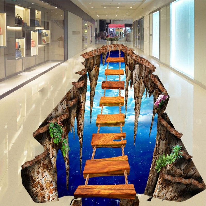 Free Shipping custom 3D stereo meters suspended wooden ladder floor painting bedroom non-slip wear floor wallpaper<br>