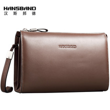 HANSBAND 2017 New High Quality genuine Leather Mens Clutch Wallet Brand Men Purse Big Capacity Brown/Black Leather Clutch Bag