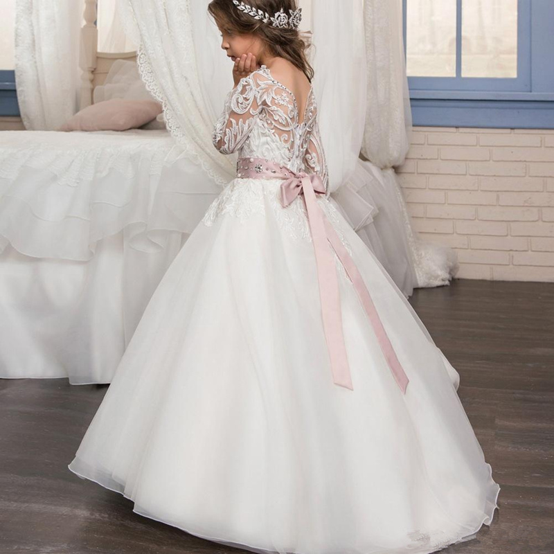 Flower Girl Dress Lace Flowers applique Long Princess Party Pageant first communion dresse