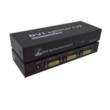 1 in 2 out DVI-I DVI 24+5 KVM Switch Splitter 1200P For PC Host to Monitor Projector