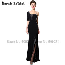 2017 Black Party Formal Evening Dresses One Shoulder Long Evening Dresses With Sleeves Sexy High Slit Mermaid Prom Dresses SY003(China)