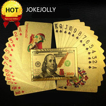 US Dollar Design Gold Poker Plastic Waterproof Playing Cards For Gambling Board Game Poker Cards High Quality GYH(China)