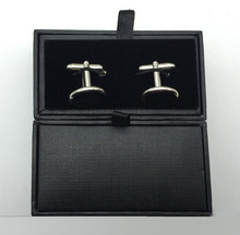 Classical Black Cufflink Box Fashion cuff link cases Jewelrys show case brooch pin tie clip box (without cufflink)(China)